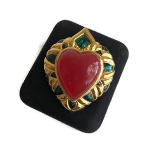 Vintage Shakira Caine Heart Brooch Red Gold Green